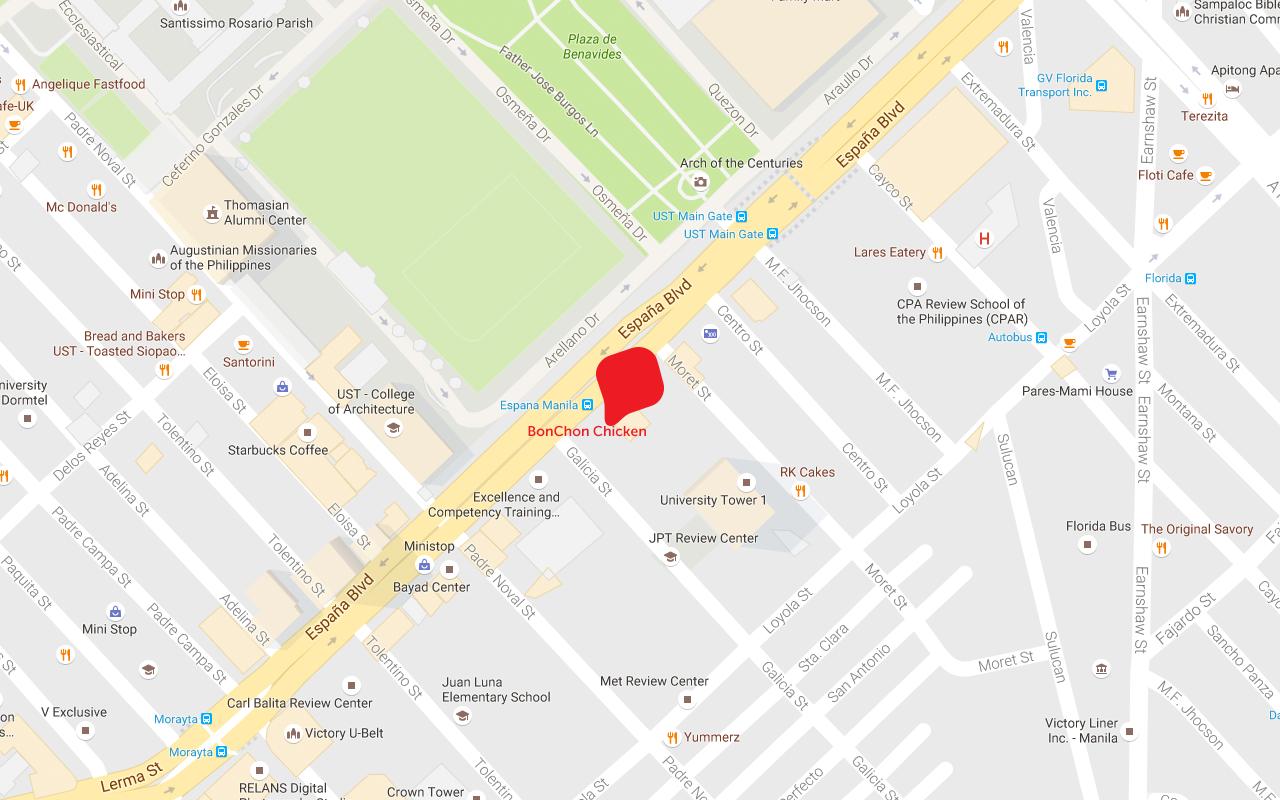 Locations  BonChon Chicken Philippines - Location map ust