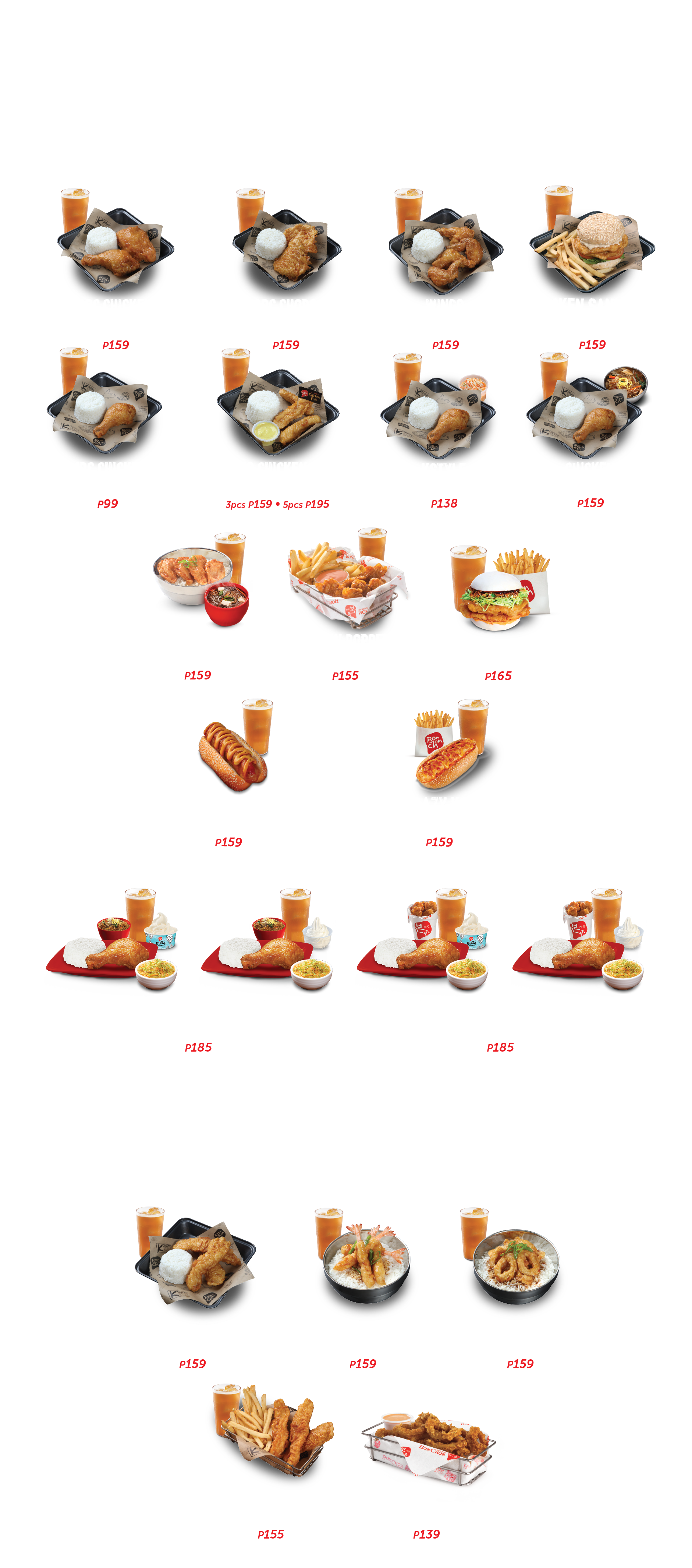 Chicken and Seafood menu